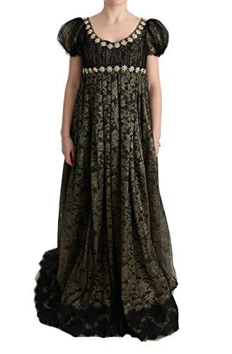 Dolce & Gabbana Black Yellow Crystal Lace Shift Dress