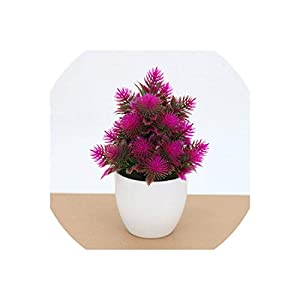 Artificial Flower Bonsai Office Home Table Miniascape DecorFake Potted Plants Ornament Set,Rose Red 98