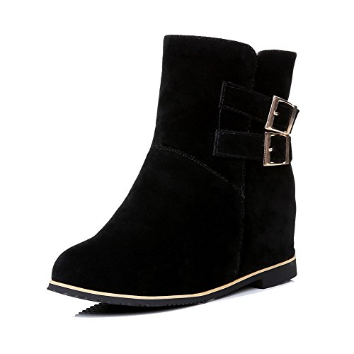 Buckle Suede Boots AgooLar Closed Heels Solid Women's High Round Black Imitated Toe FwzRgqfw