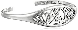 "Sterling Silver ""The Love Between A Mother and Daughter"" Heart Cuff Bracelet, 7.5"""