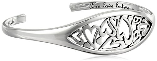 "Sterling Silver ""The Love Between A Mother and Daughter"" Heart Cuff Bracelet"