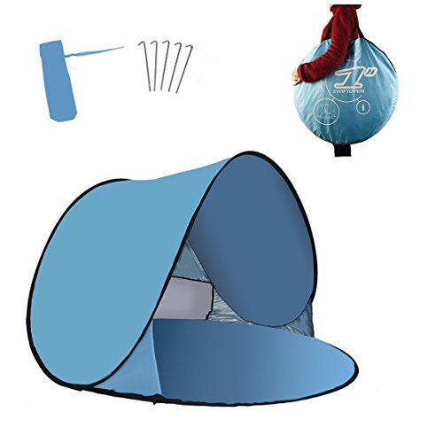 RIJER Portable Pop Up Tent, Instant Cabana UV Protection Sun Shelter Baby Tent Beach Shade Quick Installation Best for Camping/Picnic/Garden/Beach Times(2-3person)