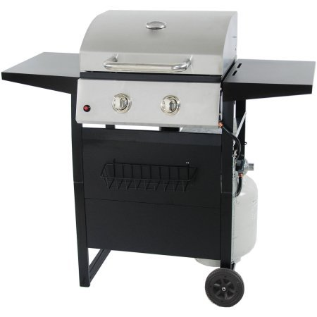 RevoAce 2-Burner 24,000 BTU LP Gas Grill with Push-Button Ignition and Condiment Rack, Stainless Steel RevoAce