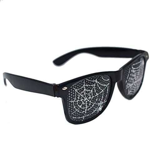 Amosfun Spider Web Eyeglasses Halloween Costumes Funny Dance Party Makeup Glasses for Masquerade Party for Friends -