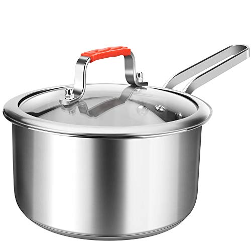 (Regiller Stainless Steel Sauce Pan with Glass Lid 2.5 Quart Small Sauce Pot Dishwasher Safe for Home Kitchen Restaurant Cooking )