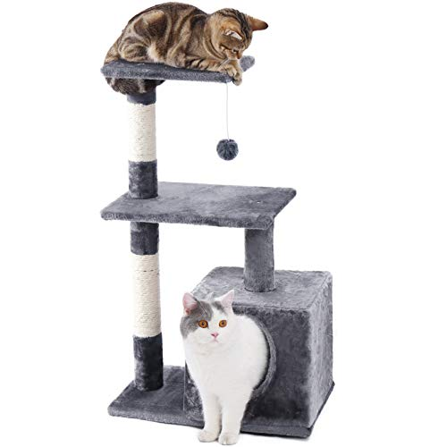 PAWZ Road Cat Tree Compact Cat Tower with Deluxe Condo Double Stairs Natural Sisals Scratching Post and Fuzzy Ball- Grey,32'