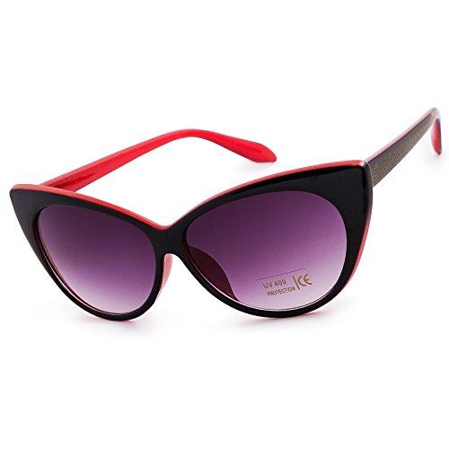 Black soleil Eyes Red de MFAZ Eyeglass Yeux Cat de Lunettes Chat Morefaz Ltd Black Fashion Eyed Sunglasses Unisex Red Femme Cat 4ztSqqR