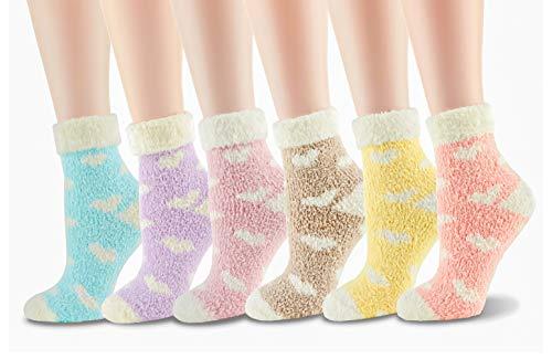 Cozy Fluffy Fuzzy Socks Women Super Soft Warm Home Sleeping Slipper Socks for Winter 5,6 Pairs Morstane