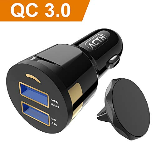 【3 Kit】ACTH Car Charger, 4.2A Dual Rapid Output Car Charger Adapter with 3FT Nylon Braided Phone Cable,Magnetic Car Mount Compatible iPhone Xs MAX Xr/8/7 Plus, iPad Pro/Air 2 and More-Black