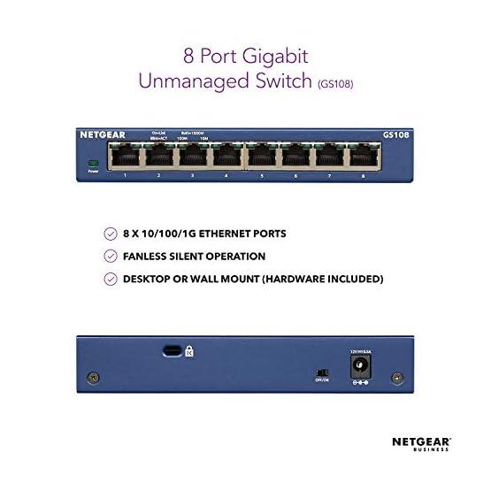 NETGEAR 8-Port Gigabit Ethernet Unmanaged Switch (GS108) - Desktop, and ProSAFE Lifetime Protection 41pSvANtDYL. SS555