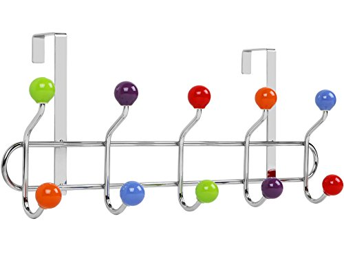 Galashield Over The Door Hook Rack Multi color Ceramic Knobbed Hooks and Stainless Steel Rack by Galashield