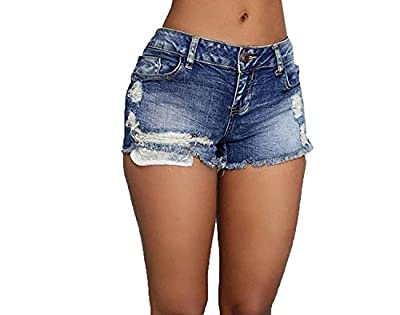 Abetteric Women's Fashion Destroyed Denim Shorts Summer Hot Pants