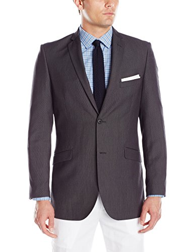 Adolfo Men's Featherbone Slim Fit Micro Tech Suit Jacket, Charcoal, 36 Short by Adolfo