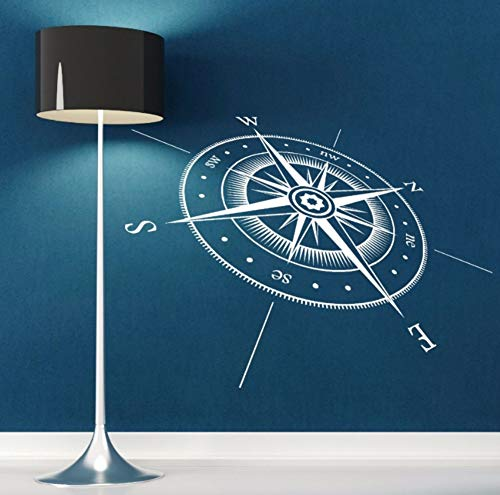 Dalxsh Compass Wall Sticker Vinyl Compass North South East West Points Wall Decal Vinyl Wall Art Mural Direction Design Decor 42x31cm