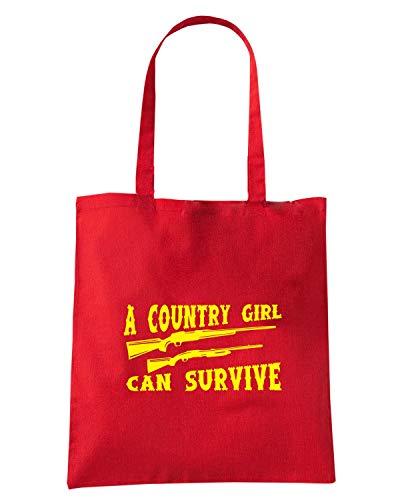 Rossa FUN1046 SURVIVE COUNTRY Shirt Speed Borsa Shopper GIRL CAN twCAx6qxI