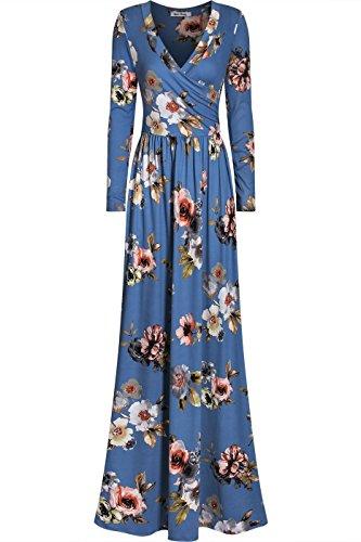 - Bon Rosy Women's Long Sleeve Faux Wrap Floral Maxi Dress w/Side Pockets Denim Blue S