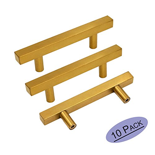 Brass Cabinet Hardware - Brushed Brass Cabinet Knobs Drawer Pulls Furniture Hardware - Goldenwarm LS1212GD76 T Bar Square Gold Kitchen Cabinet Door Handle 3 Inch Hole Centers Bathroom Cabinet Pulls 10 Pack