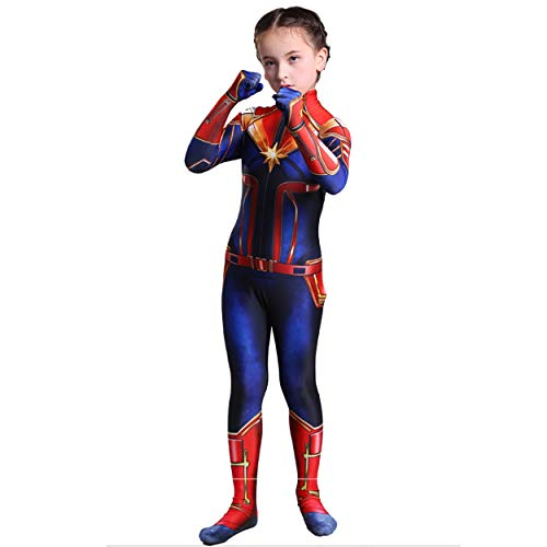NikoNi Captain Marvel Children's Deluxe Hero Suit, Halloween Costume for Girls, Superhero Jumpsuit
