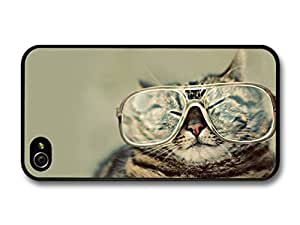 AMAF ? Accessories Funny Fat Cat With Glasses case for iPhone 4 4S