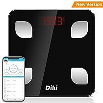 Bilancia Pesapersone Digitale Bluetooth DIKI Alta Precisione Bilancia da Bagno , Bilancia Diagnostica, Utenti Illimitati, Misura 8 Parametri Corpore, Tecnologia Step-on (Nero)