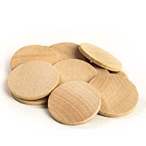 "Nakpunar® 100 pcs 1"" Round Disc Unfinished Wood Cutouts - Ready to be decorated, painted"