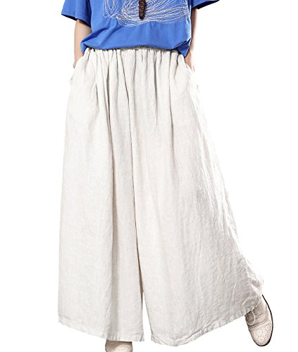 (YESNO Women Plus Size 100% Linen Wide Leg Elastic Waist Casual Loose Cropped Pants/Pockets PLW (Typ2-Medium-Hemp, One Size (L-XL)))