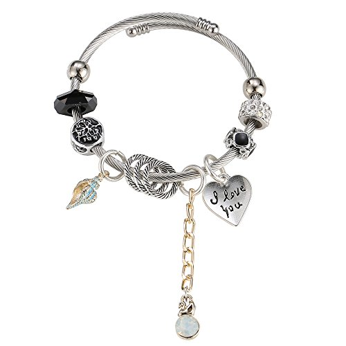 (ZODRQ Bracelet Hollow Beads Message Charm Expandable Wire Bangle Bracelet, in The Popular Style, Comes in A Gift Box! (Black))