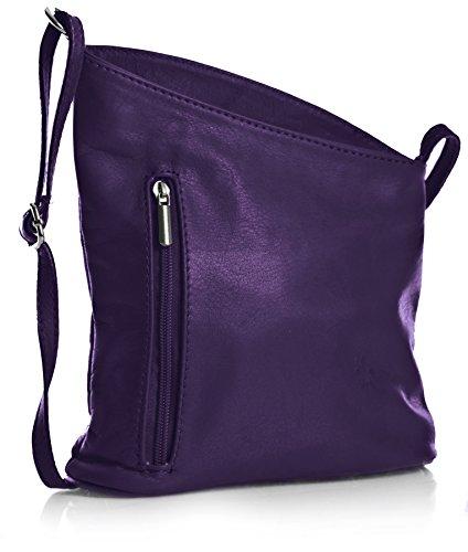 véritable Sac Petite italien à Venenzi Violet bandoulière Handbag souple Cuir Big Shop XZwS8q4n