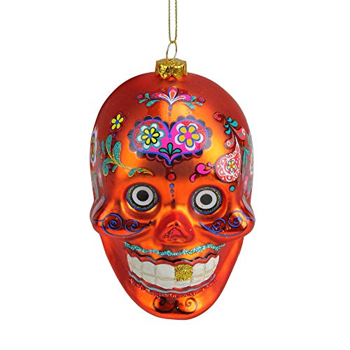 Northlight Day of The Dead Glitter Embellished Skull Halloween Christmas Ornament, 4