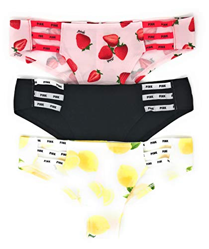 Victoria's Secret Pink Cheekster Panty Set of 3 Medium Strappy Strawberries/Black Solid/Lemons