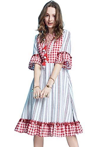(Artka Women's Boho Vintage Plaid Midi Dress With V Neck Tassel 3/4 Bell Sleeve Empire Waist)