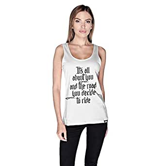 Creo Its All About You Bikers Tank Top For Women - S, White