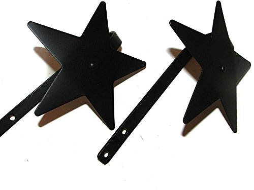 Western Curtain Tie Backs - Curtain Tiebacks-Stars! Pair--Amish Made Wrought Iron