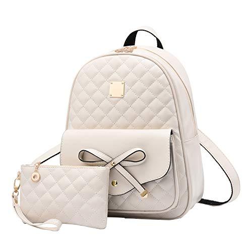 - I IHAYNER Girls Bowknot 2-PCS Fashion Backpack Cute Mini Leather Backpack Purse for Women Beige