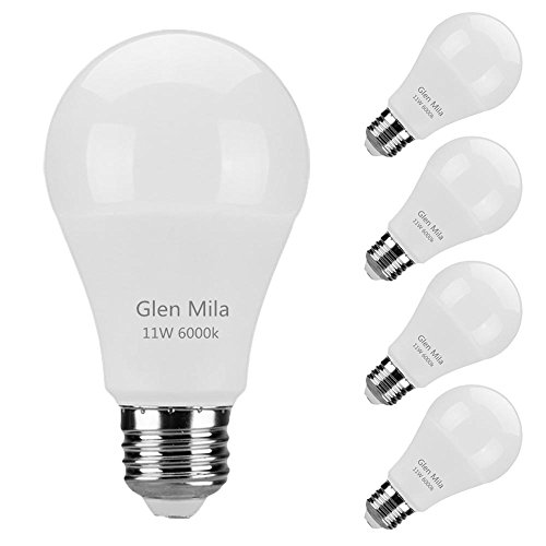 Glen Mila 100 Watt Light Bulb Equivalent (11W) 6000K A19 LED Daylight White Bulbs E26 Medium Screw Base 1100 Lumen General Purpose for Home Lighting Non- Dimmable 4 - Base Led Medium