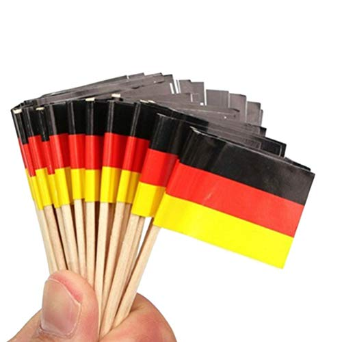 (BESTOYARD Flag Picks German Flag Picks Food Toothpicks for Party Favors Birthday Wedding Baby Shower National Day Cupcake Toothpick 100pcs)