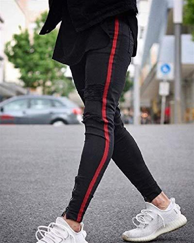 Fit Slim Nero Skinny Distrutti Strappati Pantaloni Jeans Giovane Stretch Uomo Casual 7wPfUAxqH
