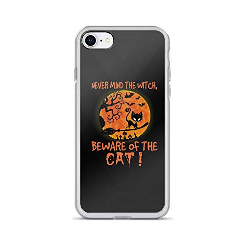 iPhone 7/8 Pure Clear Case Cases Cover Never Mind The Witch - Beware of The Cat - Funny Halloween Quote Kitten Lover TPU Сlear Plastic Durable Cover -