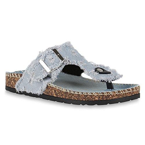 Stiefelparadies Damen Zehentrenner Glitzer Komfort-Sandalen Korkoptik Blumen Hausschuhe Lack Denim Schuhe Strass Zierperlen Pantoffeln Flandell Hellblau Risse