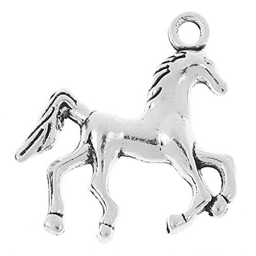 Housweety 50PCs Charm Pendants Silver
