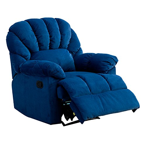 Leather Swivel Full Recliner Glider (BONZY Reliner Chair Over Stuffed Shell Shape Head Rest Padded Arms in Plushed Cover - Navy Blue)