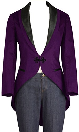 ((XS-28) Trailblazer - Purple Women's Satin Formal Blazer Slim Fit Jacket)