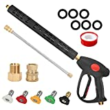 STYDDI High Pressure Washer Gun Kit, 4000 PSI Power Washer Gun with Extension Wand Lance Replacement and 5 Different Spray Nozzle Tips, M22 15mm or M22 14mm Fitting