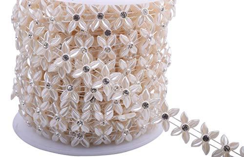 KAOYOO 10 Yards New Four Petals Flowers with Rhinestone Chain Sew on Trims Wedding Dress Decoration Beaded Trim