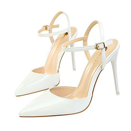 Price comparison product image Pointed Toe High Heels Shoes Woman Shallow Slingback Pumps Ladies Buckle Strap Party Wedding Stilettos Shoes White 7
