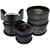 Rokinon Ultra-Wide Angle Cine Lens Kit – 24mm + 14mm + 8mm for Canon + Protective Photography Hard Case + Accessory Kit