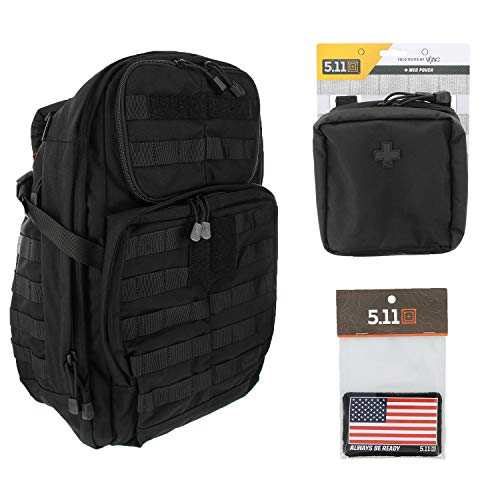 5.11 RUSH24 Tactical Backpack Med First Aid Patriot Bundle - Black