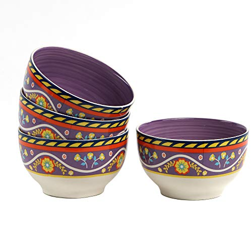 - 21oz, 4-Piece Ceramic Soup-Cereal Bowl Set of 4 with Vibrant Spanish/Mexican Floral Design Rice Bowl Service for 4