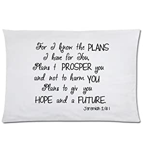 Bible Verse - Jeremiah 29:11 For I Know The Plans I Have For You Pillowcase - Zippered Pillowcase, Pillow Protector Cover Cases - Standard Size 20x30 inches, One-sided Print