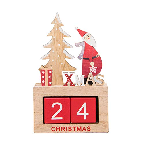 - Cute Santa Decorated Desktop Wooden Block Perpetual Calendar Desk Accessory Chic Number for Home Office Christmas Gift Decoration (Pattern B)